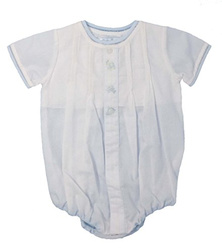 Baby Boys Shadow Stitch Layette Bubble With Pintucks and Hat (White, 9 Months)