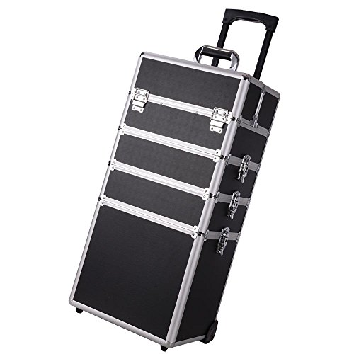 AW 4 in1 Rolling Makeup Artist Train Case Lockable Trolley Cosmetic Organizer Trolley Travel Box 2 Wheels Beauty Black (Best Sewing Classes Nyc)