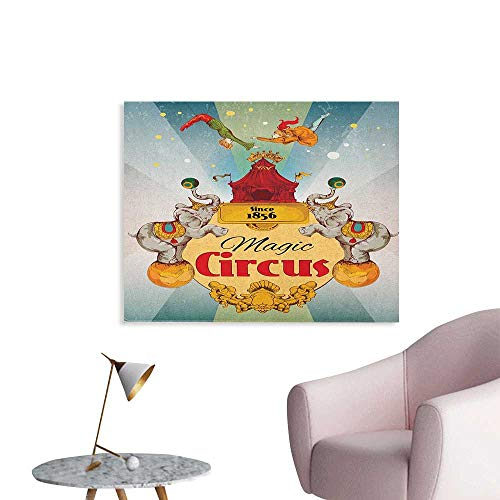 Circus Mural Decoration Magic Circus Tent Show Announcement Vintage Style Aerialist Acrobat Performance Funny Poster Multicolor W28 xL20