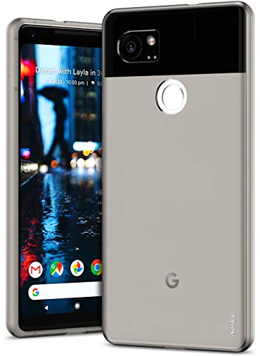 Aeska Google Pixel 2 XL Case, Ultra [Slim Thin] Flexible TPU Gel Rubber Soft Skin Silicone Protective Case Cover for Google Pixel 2 XL (Smoke Black)