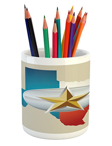 Ambesonne Texas Star Pencil Pen Holder, Cowboy Belt Buckle Star Design with Texas Map Southwestern Parts of America, Printed Ceramic Pencil Pen Holder for Desk Office Accessory, Multicolor