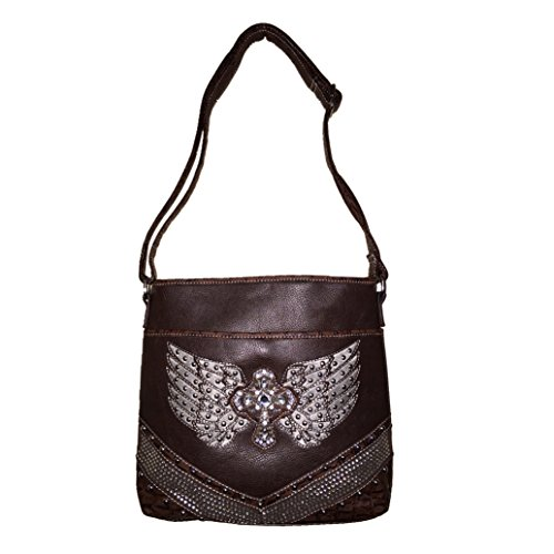 Bag Coffee Wings Coffee Rhinestone Purse Messenger in and Matching Handbag Shoulder Cross Wallet Angel zqwEa7