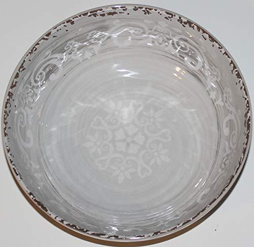 "Cynthia Rowley 100% Melamine Rustic Grey Decorative 8"" Soup/Cereal/Salad bowls - Set of 6"