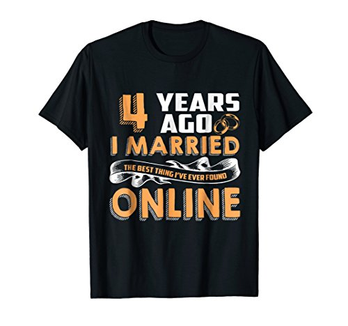 Anniversary Gift T-Shirt For 4 Years Marriage Couple Tee.