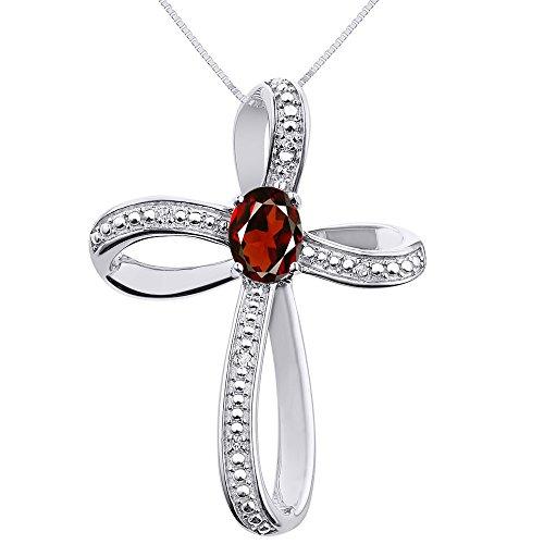 Diamond & Garnet Cross Pendant Necklace Set In Sterling Silver .925