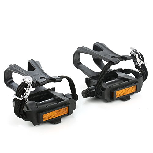 (zonkie Bike Pedals with Toe Clip and Strap, 9/16 Inch)