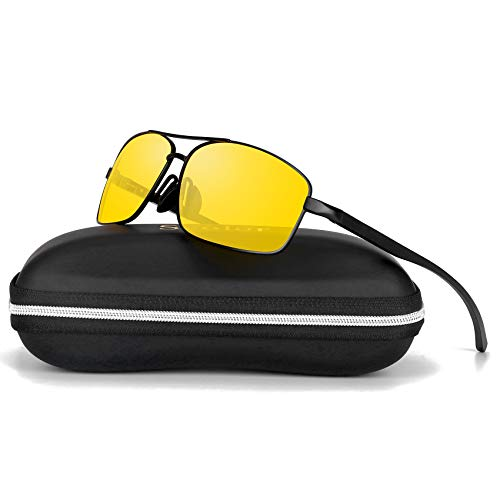 Sports Polarized Sunglasses For Men-Scolor Rectangular Metal Frame Ultra Lightweight UV400(Black/Yellow)