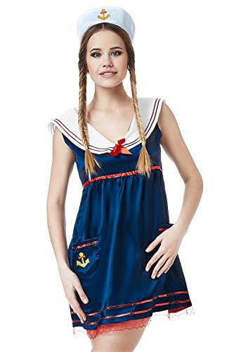 [Adult Women Sassy Sailor Girl Halloween Costume Marine Doll Dress Up & Role Play (Standard)] (Pin Up Girl Costume Halloween)