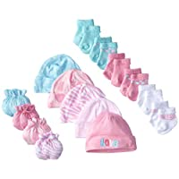 Gerber Baby Newborn Love 15 Piece Socks Caps and Mittens Essential Gift Set f...