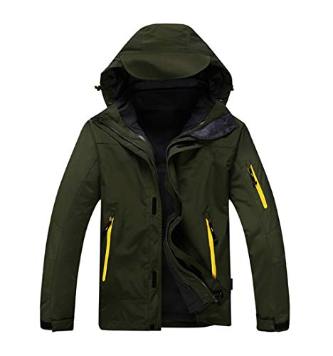 Mountaineering Outdoor Green Detachable Suit piece Waterproof Two Liner Fleece Jacket Uq1axdq