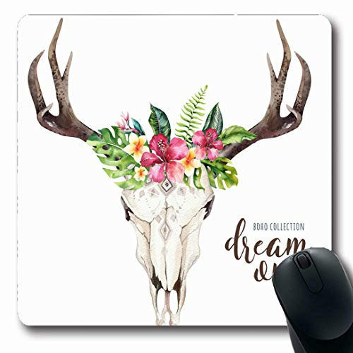 Ahawoso Mousepads for Computers Brazil Green Western Watercolor Bohemian Cow Skull Tropic Ethnic Palm Wildlife Flower Nature Aloha Oblong Shape 7.9 x 9.5 Inches Non-Slip Oblong Gaming Mouse Pad