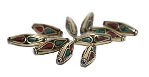 Tibet Silver Coral Bead - Tibetan beads Nepalese beads Handmade beads Coral Beads Turquoise Beads (10 beads) B274