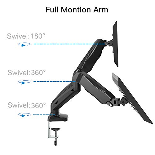 Dual Arm Monitor Stand - Adjustable Gas Spring Computer Desk Mount VESA Bracket with C Clamp/Grommet Mounting Base for 13 to 27 Inch Computer Screens - Each Arm Holds up to 14.3lbs by HUANUO (Image #2)