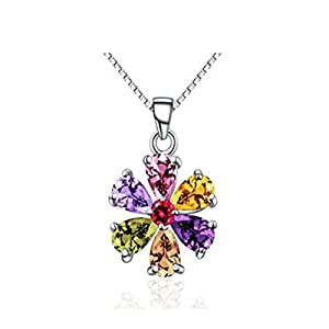Aiblii Women's Fashion Colorful Flower Crystal Pendant Necklace,Jewelry Accessories for Women and Girls Gift