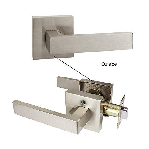 Probrico Square Passage Door Lever Set Keyless Interior Door Handles Lock Brushed Nickel Finish, 6 Pack by Probrico (Image #3)