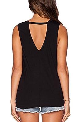 Fihapyli Womens Casual V Neck Wraps Sexy T Shirt Tee Tops Sleeveless Blouse Loose Knit Summer T-shirt