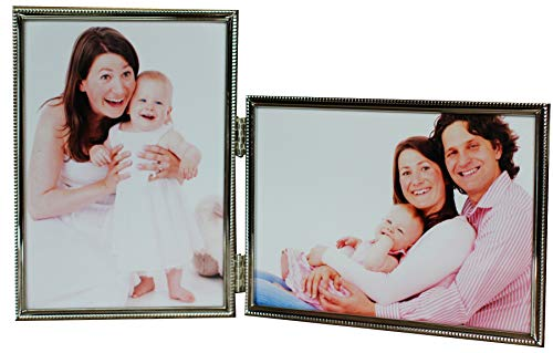 (LEADEX Vertical Horizontal Combo- Double 5 by 7 Inch Metal Folding Picture Frames-(1 Landscape and 1 Portrait Style) (Silver))