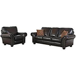 Abbyson Briana SK-2918-Brn-3/1 2 Piece Hand Rubbed Leather Sofa and Recliner