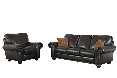 Abbyson Living Briana SK-2918-Brn-3/1 2 Piece Hand Rubbed Leather Sofa and Recliner