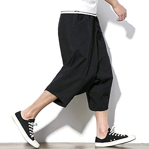 Tasche Pantaloni Gamba Con Thai Lino Summer Youth Hippie Da Nero Larghi Uomo Boho Harem A Aladdin Completo Larga rqwrPZax