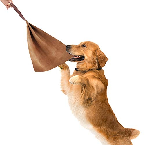 Lifeunion Dog Tug Bite Toy with Handle Leather Soft Durable Dog Training Tug of War Toys