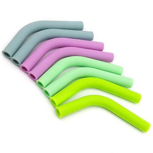 Food Grade Silicone Straw Elbows Tips Cover Soft Reusable Metal Stainless Steel Straw Nozzles Only Fit for 5/16