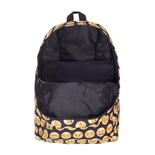 Cayuan Sac à Dos Emoji pour Fille Enfants Femmes Cartable Sac Scolaire Voyage Loisir Backpack Mignonne