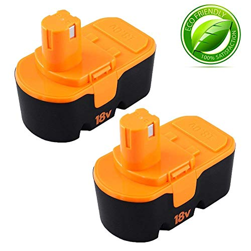 Fhybat for Ryobi 18v Battery Replacement ONE+ P100 P104 P105 P110 130224007 High Capacity Cordless Power Tools 18 Volt Batteries 2 - Trimmer Technical Series