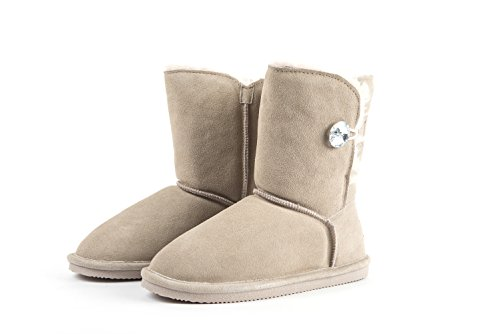Amelia Women's Imitated Crystal Buttons Australian Sheepskin Short Snow Boots (7, ()