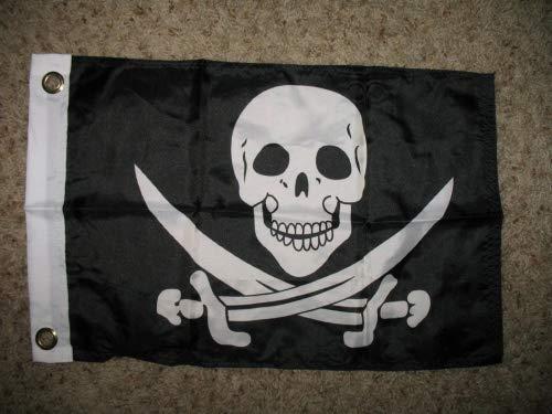 Calico Jack Flag Rackham - Jolly Roger Calico Jack Rackham Pirate 12x18 Boat Flag indoor/outdoor