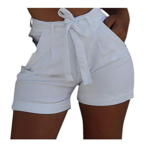 (JOFOW Denim Shorts Womens Short Jeans Solid Tie Strappy Bowknot High Waist Trousers Skinny Casual Chic Party Gift Mini Pants (L,Cream))