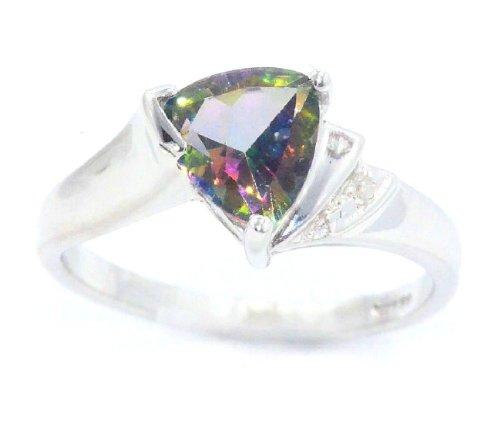 14Kt Gold 1.5 Ct Natural Mystic Topaz & Diamond Trillion Ring