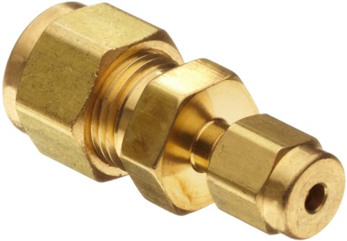 Parker A-Lok 6RU4-B Brass Compression Tube Fitting, Reducing Union, 3/8