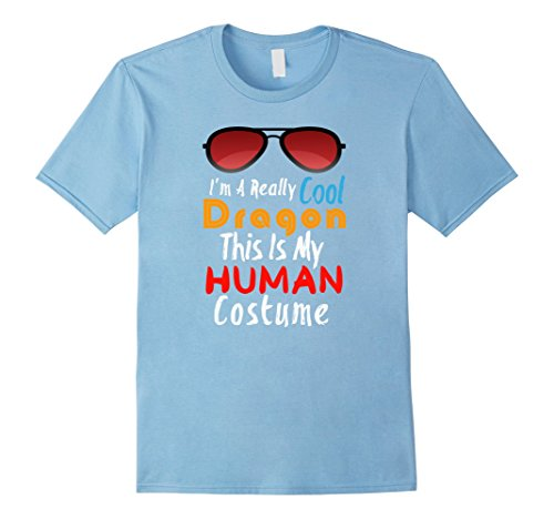 Mens I'm A Really Cool Dragon This Is My Human Costume Halloween XL Baby Blue
