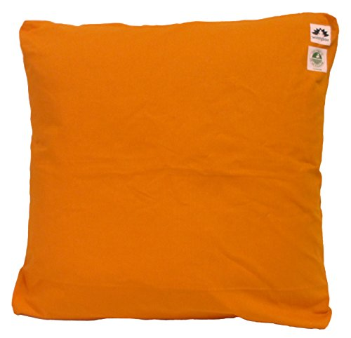 Zabuton Cushion: Kapok-filled, 100% Organic Cotton Cover Meditation Cushion (Orange Saffron, Medium 24 X 24)