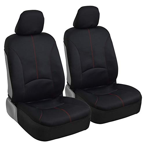 BDK Stitched Neoprene Car Seat Covers - Comfortable Polyester Protection - Red Accent Stitching