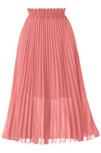 GOOBGS Women's Pleated A-Line High Waist Swing Flare Midi Skirt