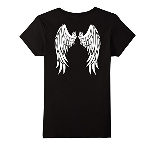 Womens Angel Wings On Back T-Shirt Angelic Princess Fallen Wings Medium Black - Fallen Angel T-shirt