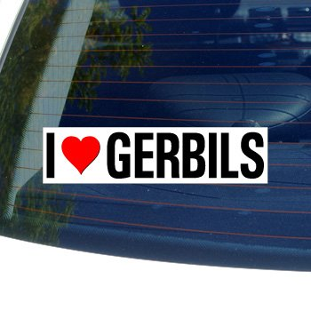 I Love Heart GERBILS - Window Bumper Sticker