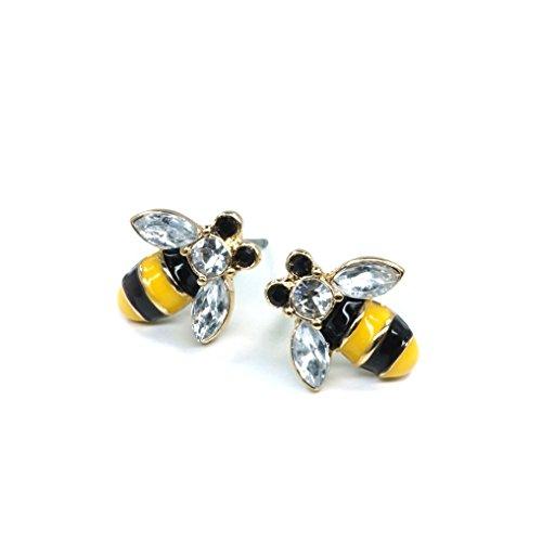 Teri's Boutique Super Cute Bumble Bee Ear Stud Rhinestone Point Women Girl Fashion Earring -