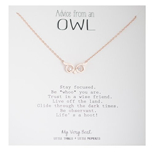 (My Very Best Wise Owl Eye Necklace (Rose Gold Plated)