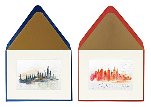 (OHBON Original Watercolor Cityscapes A2 Note Cards Set of 6 with Custom Lined European Envelopes (4.25
