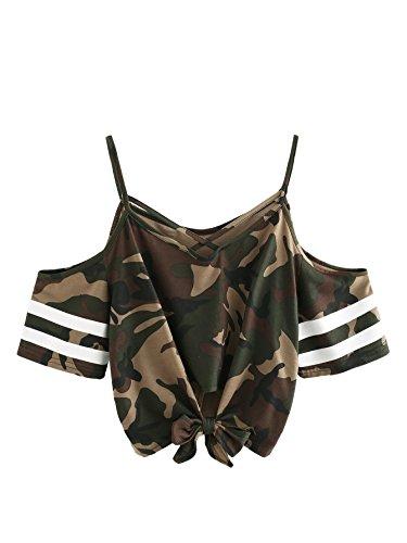 a400b78e0b40b SweatyRocks Women s Knotted Cold Shoulder T Shirt Criss Cross Crop Tops Camo  S