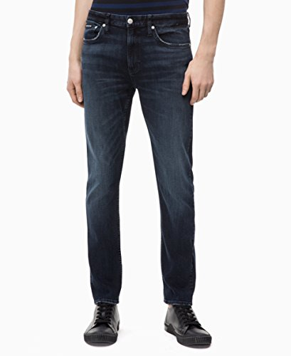 Calvin Klein Men's Slim Fit Jeans, Boston Blue/Black, 30x32 ()