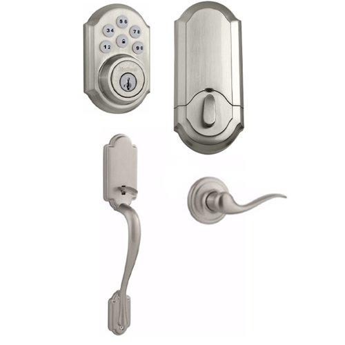 Kwikset 909 SmartCode Electronic Deadbolt featuring SmartKey w/Arlington Handleset (Satin Nickel) (Kwikset Smart Key Rekey Kit)