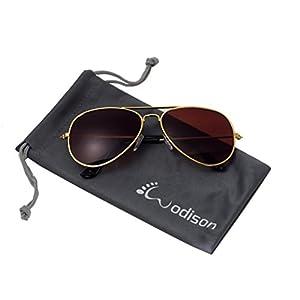 WODISON Classic Kids Aviator Sunglasses Reflective Metal Frame Children Eyeglass Gold Frame Brown Lens