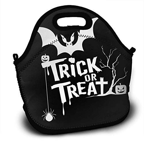 Halloween Trick Or Treat Message Insulated Neoprene Lunch Bag/Lunch Box/Lunch Tote/Picnic Bags Cooler Warm Pouch Lightweight Handbag Food Containers for Women, Men,Girls, Boys, Kids ()