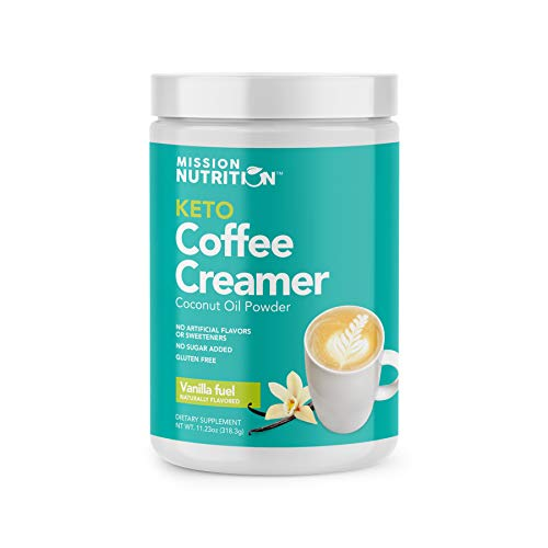 Mission Nutrition Keto Coffee Creamer I Low Carb (Zero Net), No Added Sugar, Ketogenic, Gluten Free I Made with Coconut Oil Powder Sweetened with Stevia I 30 Servings (Vanilla)