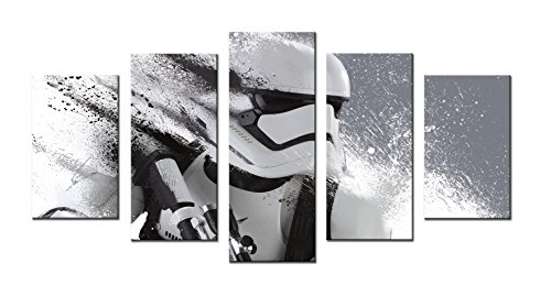 Amesi 5 Panels Canvas Art Print Painting Star Wars Stormtrooper Movie Cartoon Wall Picture Robot Shooter Home Decor Stretched and Framed Ready to Hang (Large)