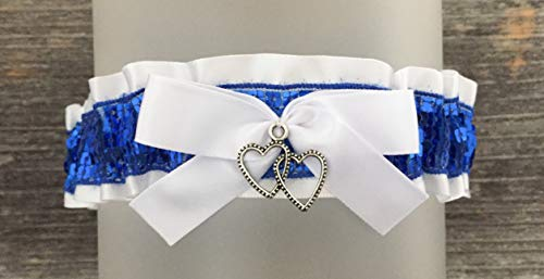 White Royal Blue Prom Garter - White Blue Wedding Bridal Garter - Heart Charm Prom Garters - Blue Sequin